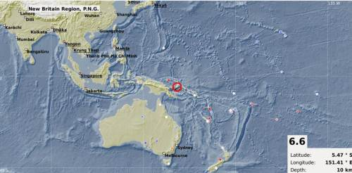 The map showing the epicentre of the 6.6 magnitude earthquake that was recorded in the PNG region last night. Picture: SUPPLIED