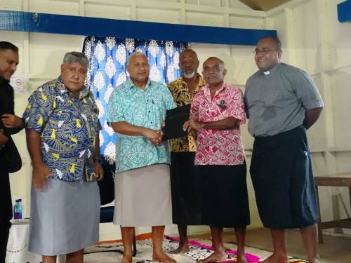 PM Voreqe Bainimarama with RKSOB executives in Suva yesterday. Picture: LICE MOVONO