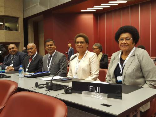 Members of the Fiji delegation at the 138th IPU Assembly in Geneva, Switzerland. Picture: SUPPLIED