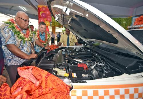 Ministry of National Disaster Management PS Meleti Bainimarama and Christopher Wagner of the European Union looks at the fully-equipped emergency vehicle donated to the ministry today. Picture: RAMA