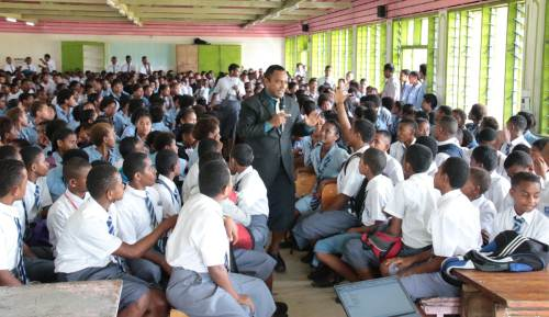 Manager Civic Education and Media Vatimosi Delailovu presenting to students of Nasinu Secondary School. Picture: SUPPLIED