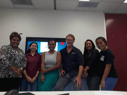 Fiji Times reporter Alisi Vucao (third from left) with media colleagues pictured here with WINS facilitator Aaron Kearney in Australia today. Picture: SUPPLIED