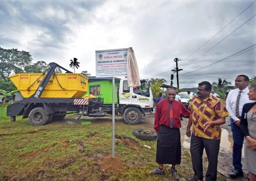 Landowner Setareki Raibevu (left) and Minister for Local Government and Housing Parveen Kumar, PS Joshua Wycliff and Assistant Minister Lorna Eden at the launch of the Peri Urban Waste collection service at Tacirua today. Picture: RAMA