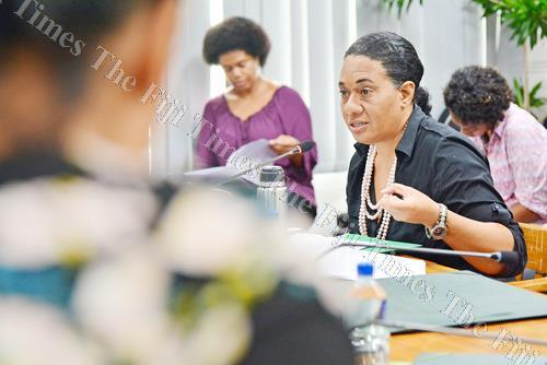 NFP vice-president and provisional candidate Seini Nabou makes a submission on behalf of her party to the Standing Committee on Justice, Law and Human Rights in Parliament yesterday. Picture: JOVESA NAISUA