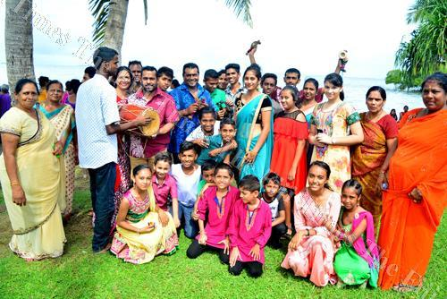 Members of the Shiv Mandir Ramayan Bhajan Mandali at the Suva foreshore. Picture: JONA KONATACI
