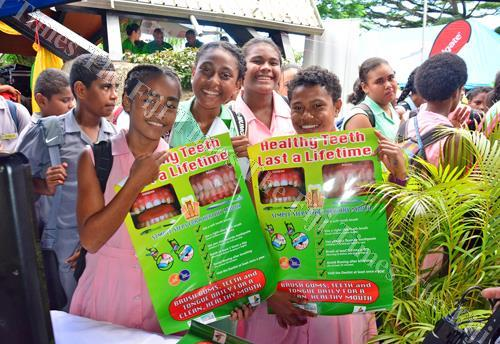 Suva Grammar School students display posters during World Oral Health Day celebrations. Picture: JONACANI LALAKOBAU