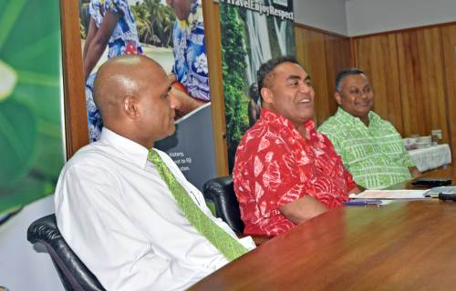 BSP's Lawrence Munia (left) and BSP's Head of Marketing Nirdesh Singh (right) with South Pacific Tourism Organization CEO Chris Cocker at today's press conference. Picture: RAMA