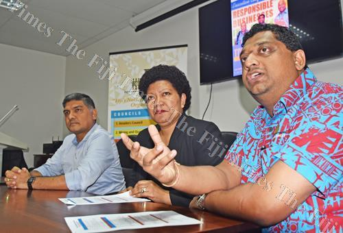 From left: Fiji Commerce and Employers Federation (FCEF) Sandeep Chauhan, TOPEX chairperson Eseta Nadakuitavuki and FCEF immediate past president Himen Chandra during the 2018 TOPEX conference launch at then Employers Hub in Suva yesterday. Picture: RA