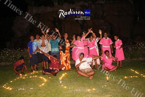 Students join in the Earth Hour initiative organised at the Radisson Blu Resort Fiji on Denarau Island. Picture: SUPPLIED