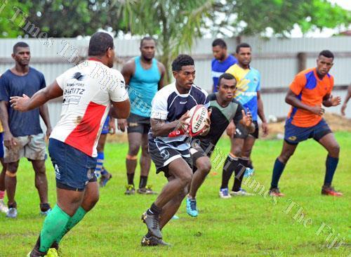 Frank Lomani sets up play during a Naitasiri team training session at Bidesi Ground yesterday. Picture: JONACANI LALAKOBAU