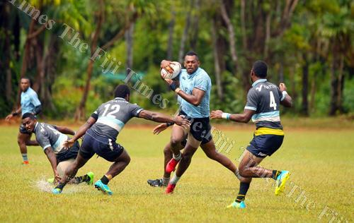 Fiji Airways Fiji 7s rep Sevuloni Mocenacagi on attack during a scrimmage session with the Providers team at the Uprising Beach Resort ground in Pacific Harbour yesterday. Picture: ELIKI NUKUTABU