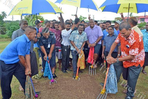 Minister for Local Government Parveen Kumar (centre) with Lautoka City Council executives and Youth Ministry officials at the groundbreaking ceremony for the Natokowaqa Multi-Purpose Outdoor Sports Facility in Lautoka. Picture: REINAL CHAND