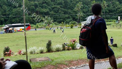 Students of Navesau Adventist High School in Wainibuka, Tailevu on their way home after the outbreak on Wednesday. Picture: ATU RASEA
