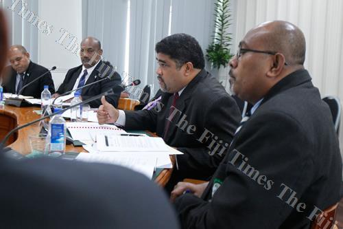 Ministry of Agriculture permanent secretary David Kolitagane makes his submissions to the Public Accounts Committee (PAC) on the Office of the Auditor-General's (OAG) audit report on the ministry's accounts for 2016. Picture: ATU RASEA