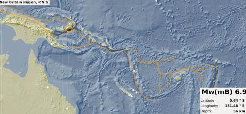 The location of the PNG earthquake. Picture: SUPPLIED