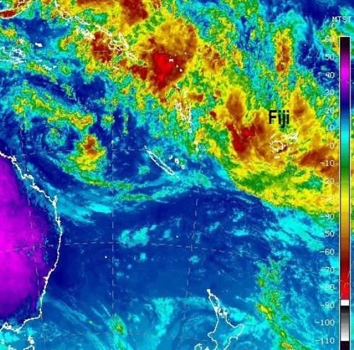 The latest sattelite images showing the current tropical disturbance over Fiji. Picture: AUSTRALIAN BUREAU OF METEOROLOGY