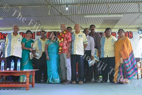 Chief Guest Professor Vijay Naidu (5th from left) with the Then India Sanmarga Ikya Sangam Executives during the 91st Convention in Sigatoka. Picture: REINAL CHAND