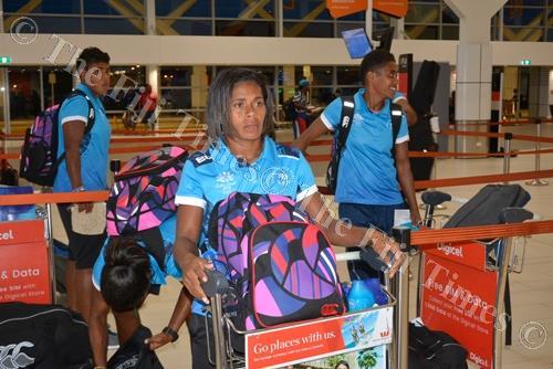 Fiji Airways Fijiana 7s Captain Ana Roqica at Nadi International Airport yesterday. Picture: REINAL CHAND
