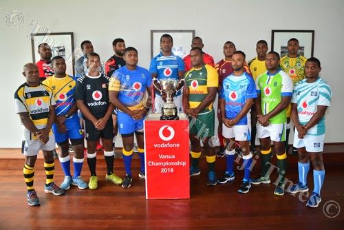 The captains of the 16 teams competing in this years FRU- Vodafone Vanua Championship during their photoshoot at the launch yesterday. Picture: JOVESA NAISUA