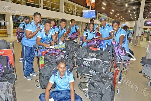 Fiji Airways Fijiana 7s team at Nadi International Airport yesterday. Picture: REINAL CHAND