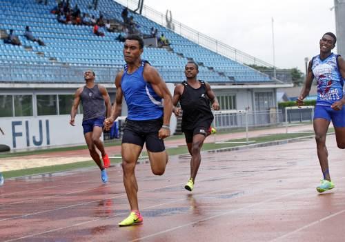 The moment Josefa Tabakaucoro was injured at the Athletics Fiji Easter games today. Francis Kirikirikula won this race. Picture: JONACANI LALAKOBAU