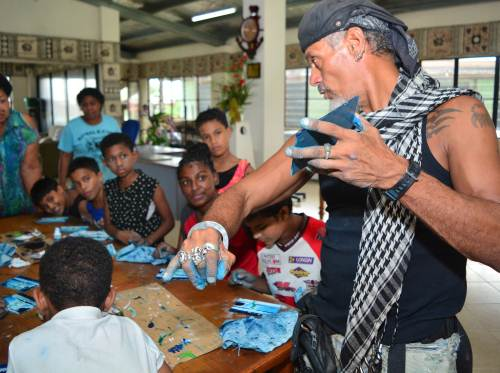 Tote Gallardo with children at the Dilkusha Home in Nausori today. Picture: JOVESA NAISUA