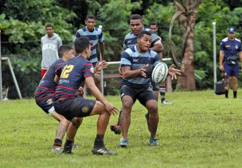 Joseva Cama of Fiji U20 offloads against Rotorua Boys High School during their match at Bidesi Grounds in Suva on Saturday, March 31, 2018. Picture: JONACANI LALAKOBAU