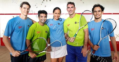 The squash squad members after a training session. Picture: SUPPLIED
