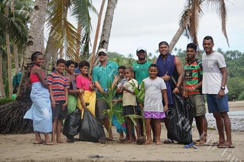 Namatakula youths after a clean-up at the beach. Picture: SUPPLIED.