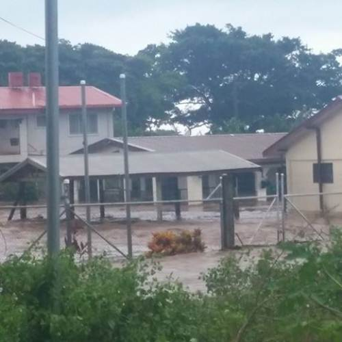 Sent in from concerned citizens, a house in Natabua where a family is trapped as flood waters rise. Picture: SUPPLIED/SEKIVA NIGHT