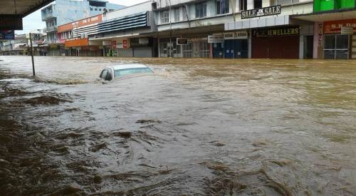The flooded Ba town after midday today. Picture: Ronald Nawal Jeet