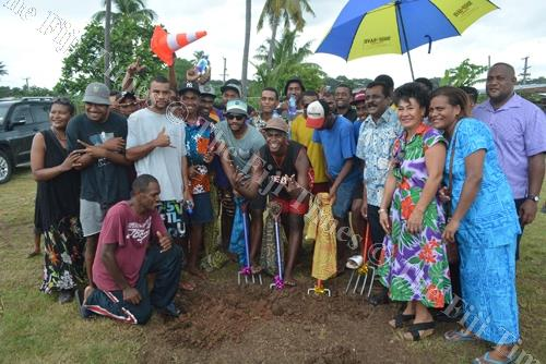 Minister for Local Government Parveen Kumar (front 3rd from right) with PYGMIES Youth Group members commission the groundbreaking ceremony for the Natokowaqa multi-purpose outdoor sports facility in Lautoka. Picture: REINAL CHAND