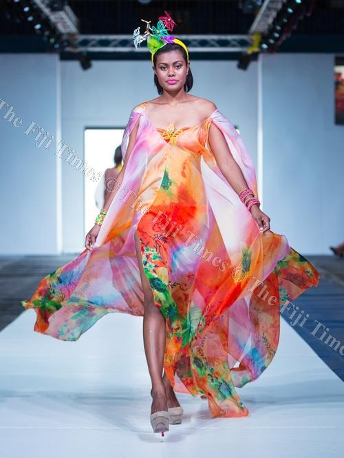 Fiji Fashion Week's Remi Naqali models a JOAN. A Designs dress. Picture: FOTOFUSION/SUPPLIED