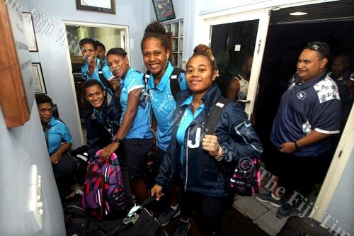 Members of the Fiji Pearls pack their gear before departing at the FASANOC office in Suva on Thursday evening. Picture: ELIKI NUKUTABU