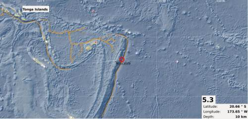 An earthquake shook Tonga earlier this weekend. Picture: SUPPLIED/MRD