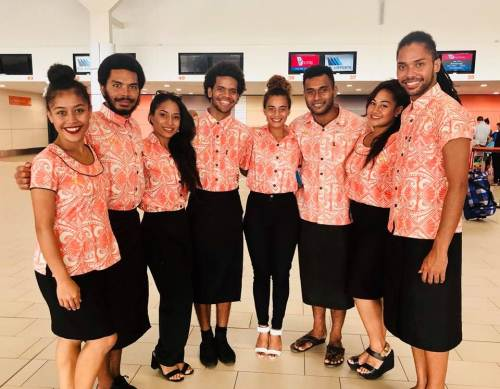 The Vou dance group at the Nadi International airport before their departure this today. Picture: SUPPLIED