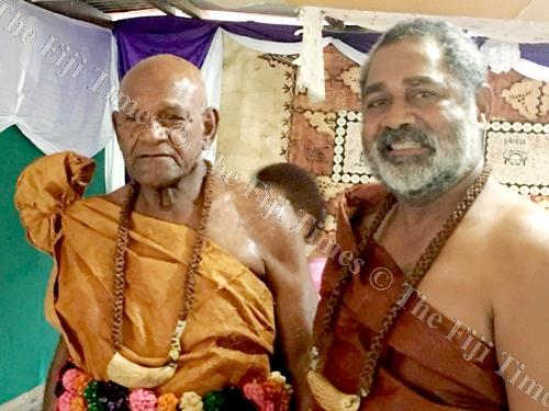 The new turaga ni yavusa Yaroi Jovesa Logaivau, left, with Jone Naulu in Savusavu on Friday. Picture: SUPPLIED