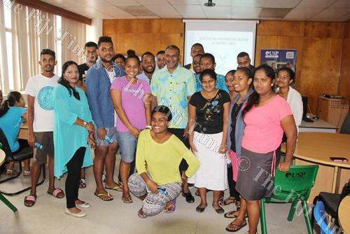 Minister for Industry, Trade and Tourism Faiyaz Koya (back middle) with graduates of the YES training in Labasa last week. Picture: SUPPLIED