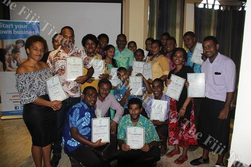 Youths with Minister for Industry, Trade and Tourism Faiyaz Koya at USP Labasa campus last week. Picture: SUPPLIED