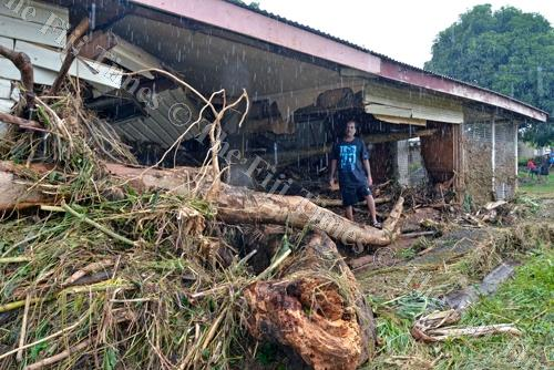 Sanjay Kumar at his house which was damaged during flooding in Vatulaulau, Ba. Picture: REINAL CHAND