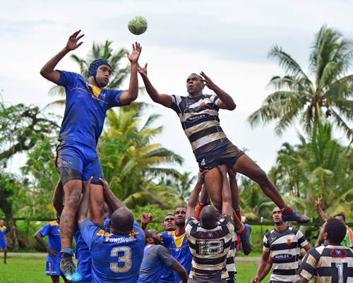 Joeli Vueti, right, of Mokani wins a lineout against Vunimono during the Tailevu Rugby weekly competition at the Sila Central High School ground in Nausori on Monday, April 02, 2018. Picture: JONACANI LALAKOBAU