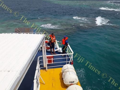 Spirit of Altruism passengers waiting to be transferred onto a fibreglass boat. Picture: SUPPLIED