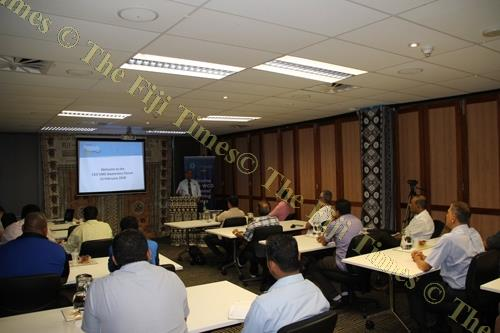Fiji Revenue and Customs Service CEO Visvanath Das during an awareness session on the VAT monitoring system with business stakeholders. Picture: SUPPLIED