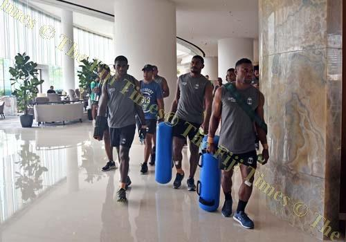 Amenoni Nasilsila of Fiji Airways Fiji 7's team leads the other team members for the gym training at Hong Kong yesterday. Piocture: RAMA