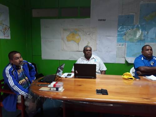 Commissioner Northern Jovesa Vocea with some members of the operation team in Labasa. Picture: LUISA QIOLEVU
