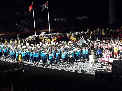Team Fiji weightlifting athlete Apolonia Vaivai leads the contingent at the opening ceremony of the 2018 Commonwealth Games. Picture: ALISI VUCAGO