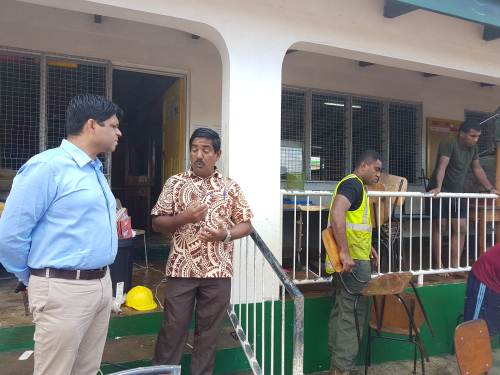 Attorney General Aiyaz Sayed-Khaiyum inspects the clean-up operation at Ba Muslim Primary School, carried out by officers from the RFMF. Picture: FELIX CHAUDHARY