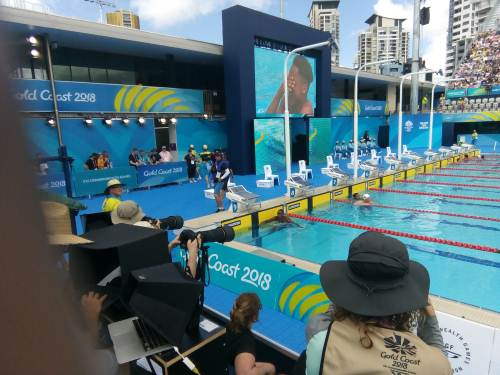Team Fiji's swimmer Paul Elaisa (on screen) after winning his 50m butterfly heat in the last hour. Picture: MAIKELI SERU