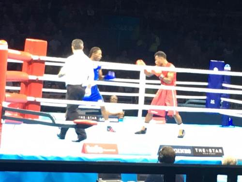 Boxer Jone Davule was unlucky to lose his bout to Louis Richarno Colin of Mauritius today. Picture: SUPPLIED/Team Fiji