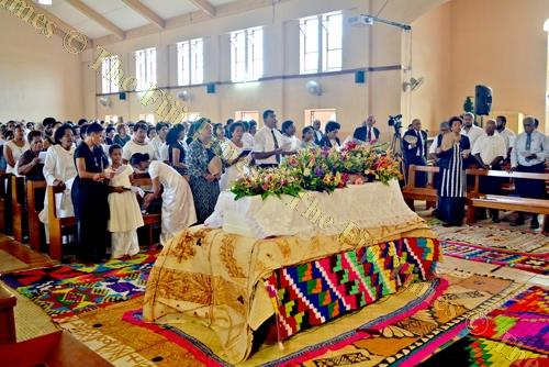 The coffin of former vice president of the Methodist Church in Fiji, Kalisiana Koroi, at the Centenary Methodist Church in Suva yesterday. Picture: PAULINI RATULAILAI